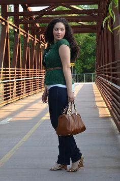 Girl with Curves - Bottle Green + Tan + White + Dark Demin