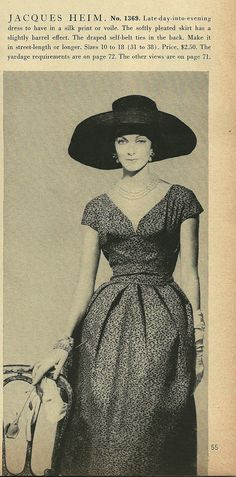 Vogue 1369 by Jacques Heim (1957 Paris Original pattern)