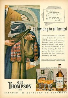 Vintage 1947 Old Thompson Print Advertisement  Liquor  Old