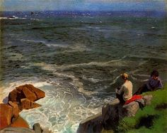 Dame Laura Knight -- Two Girls on a Cliff