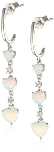 Sterling Silver Heart Created Opal and Diamond Earrings.