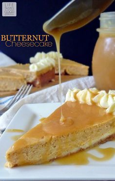 Butternut Cheesecake | by Life Tastes Good is smooth, creamy, and smothered in caramel sauce! #Dessert #Thanksgiving