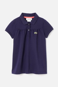 Lacoste Girl's Short Sleeve Classic Pique Polo With Gathering Detail : Girls