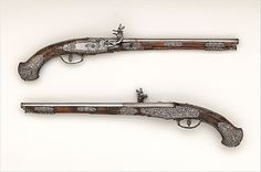 "Mid-17th century Italian (Brescia) Wheellock pistols at the Metropolitan Museum of Art, New York - From the curators' comments: ""Gavacciolo was considered among the best lockmakers and most gifted steel-chiselers in Brescia. His work was so highly valued that the Venetian government presented sets of Gavacciolo's firearms to King Louis XIII of France (reigned 1610–43) and the King of Persia."""