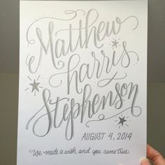 Baby name wall art custom hand lettering by BrightWinterStudio