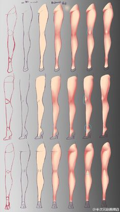 #绘画参考# 腿部的绘制&动态参考,教你画丝... 来自半次元绘画频道 - 微博