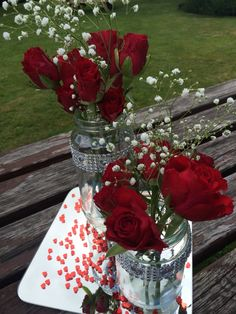 Ruby Wedding Anniversary Decor Food Jars Sparkles And Fresh Flowers Simple