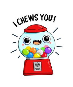 'I Chews You Candy Food Pun' Sticker by punnybone - nimivo sites