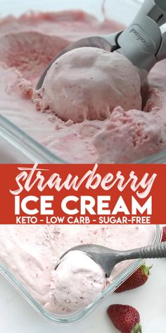 Without an ice cream maker! This creamy no-churn strawberry ice cream is sugar-free and absolutely delicious. My son declared it some of the best homemade ice cream I've ever made. Cool off this summer with a wonderful keto ice cream treat. Low Carb Paleo, Low Carb Recipes, Diet Recipes, Healthy Recipes, Keto Fat, Slimfast Recipes, Vegan Keto, Flour Recipes, Sugar Free Recipes