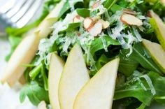 St. James' MANCHEGO-SALAD: Manchego cheese, arugula, sliced pears and almonds with housemade quince vinaigrette.