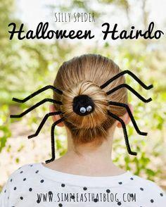 Fun spider bun Halloween hairstyle tutorial.