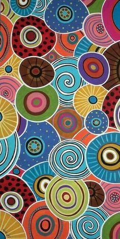maybe using the circle cutter. Kunst Der Aborigines, Circle Art, Aboriginal Art, Silk Painting, Art Plastique, Rug Hooking, Pattern Art, Circle Pattern, Painting Inspiration