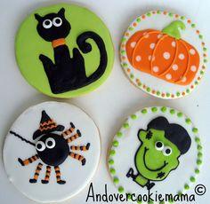 Halloween Cookies~                         By Andover cookie mama, black cat, Orange pumpkin polka dot, green Frankenstein, black spider, round