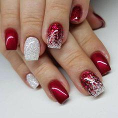 Red Nail Designs, Winter Nail Designs, Christmas Nail Designs, Christmas Gel Nails, Diy Holiday Nails, Christmas 24, Christmas Glitter, Simple Christmas, Nagellack Design
