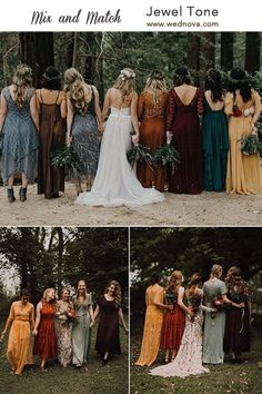 See Top 9 Fall Wedding Color Schemes for orange and green bridesmaid dreses, bohemian wedding theme in forest wedding bridesmaids Fall Wedding Color Schemes Bridesmaid Dresses Different Colors, Mix Match Bridesmaids, Fall Wedding Bridesmaids, Mismatched Bridesmaid Dresses, Wedding Dresses, Halloween Bridesmaid Dress, Jewel Tone Bridesmaid, Forest Green Bridesmaid Dresses, Burnt Orange Bridesmaid Dresses