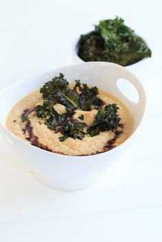 Roast Cauliflower and Garlic Soup with Crispy Kale Chips and a Balsamic Drizzle     Lemon & Mocha  So delicious, but no cream! Just nonfat Greek yogurt for added protein and creaminess!