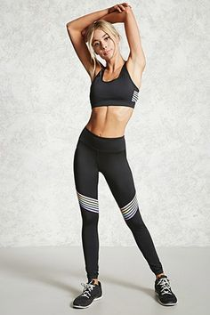 Леггинсы forever 21 active striped knee leggings - купить в Knit Leggings, Tight Leggings, Yoga Wear, Dance Wear, Sport Chic, Sport Style, Sport Outfits, Gym Outfits, Fitness Outfits