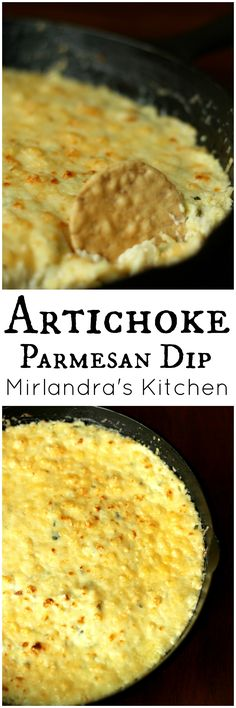 I don't know who first decided the mighty artichoke was food but they were a genius. This hot Artichoke Parmesan Dip is a perfect way to eat artichokes. I serve it for casual movie nights, holiday dinners and game day parties. You will love how simple it is to make and how cheesy and savory it is!
