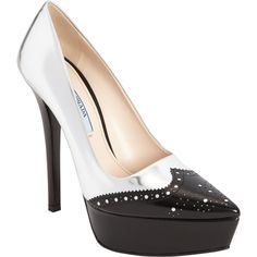 Prada Metallic Pointed Toe Brogue Pump Socks And Sandals bff11225b0920