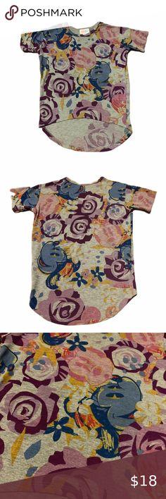 New Lularoe Sloan Kids Shirt Size 14 pink yellow red teal geometric abstract