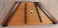 2012 - #1612 - A James Jones 16/15 Custom Hammered Dulcimer, Cherry frame, Redwood SB, Lacewood pin panels, Wenge trim, Walnut bridges made black, with Wenge dampers