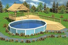 Image result for above ground pool deck with bar