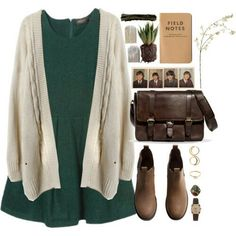 10/27/16: green brocade dress, neutral chunky cardigan, brown ankle boots