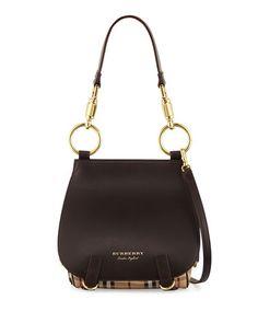 V3CEL Burberry Bridle Large Haymarket Check Shoulder Bag, Dark Clove Brown
