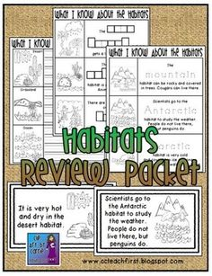 Domain 8 Animals and Habitats: This review packet can be used as an assessment for the end of your study of Habitats OR throughout the unit as you teach about the habitats.  Included are some differentiated pages that focus on 1 or 2 important facts about each of the different habitats...we used the fill in the word in the shape boxes page.Habitat Facts Writing Sheets:  3 options available:--Students write