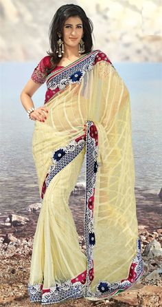 Picture of Symmetrical Buttercream Saree