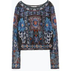 Zara Embroidered Top ($100) ❤ liked on Polyvore featuring tops, blue, embroidery top, zara top, embroidered top and blue top