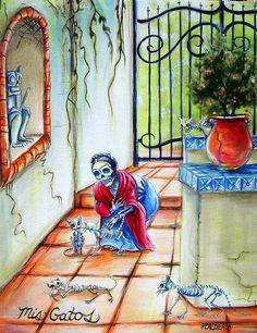 Mrs Skeleton and her Cats. Mis Gatos - Heather Calderon