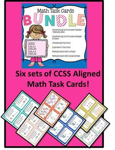 Task cards are EDUCATIONAL, FUN, INTERACTIVE, and VERSATILE! They can be used in so many different ways! This BUNDLE includes 6 sets of 24 Common Core aligned cards! By purchasing the BUNDLE instead of the sets separately, you save over 15%! Skills covered include: Equivalent Fractions Comparing Fractions Determining the Unknown Number- Multiplication Determining the Unknown Number- Division Multiplication with Arrays Multiplication with Equal Groups