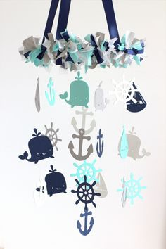 Nautical Nursery Mobile In Navy, Aqua, Gray & White- Baby Mobile, Crib Mobile, Baby Shower Gift on Luulla