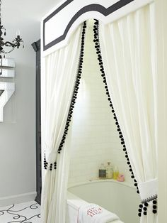 Double Shower Curtains - Design photos, ideas and inspiration. Amazing gallery of interior design and decorating ideas of Double Shower Curtains in bathrooms by elite interior designers. Shower Curtain With Valance, Double Shower Curtain, Custom Shower Curtains, Bathroom Shower Curtains, Wood Valance, Long Shower Curtains, Bathroom Valance Ideas, Sauna Hammam, Black Shower