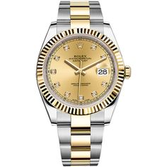 Rolex Datejust 41mm Steel and Yellow Gold 126333 Champagne Diamond... (€11.275) ❤ liked on Polyvore featuring men's fashion, men's jewelry, men's watches, stainless steel, mens gold diamond watches, mens diamond watches, rolex mens watches, mens gold watches and stainless steel mens watches