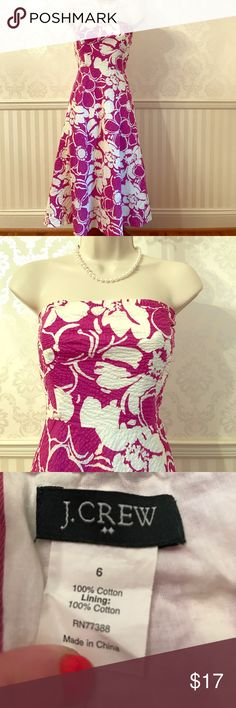 J. Crew Floral Strapless Sundress J. Crew strapless sundress in perfect condition - only worn once or twice! Vibrant purple and white floral print. Fully lined. 100% cotton. So stylish and wonderful for summer! Size 6. J. Crew Dresses Strapless