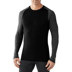 Men's Merino 250 Base Layer Pattern Crew, Black/Light Gray, Medium