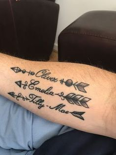 Family Name Tattoos, Family Tattoos For Men, Baby Name Tattoos, Father Tattoos, Tattoos For Women, Word Tattoos, Tattoos For Childrens Names, Tattoos With Kids Names, Tattoos With Meaning