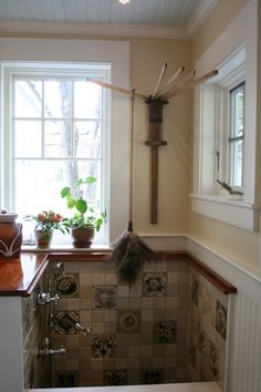 a place to wash the dog in the laundry room and hang stuff to dry!
