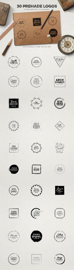 Logo Creation Kit Vol.4: This kit includes 228 vector elements, 40 premade font combinations, 50 Photoshop styles, 30 premade logos and 8 high resolution textures! Create thousands of stunning high quality logos either you are a Illustrator or Photoshop user. All of the elements and logos are included in AI, PSD and EPS fully editable files.
