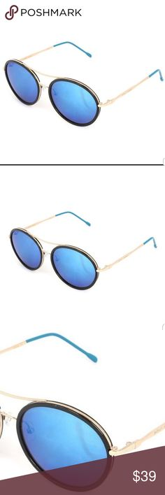 040163ebd Betsey Johnson Black & Blue Aviator Sunglasses Psychedelic lenses and  classic frames combine in this pair