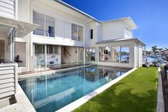 Coastal beachfront property is at a premium in this Queensland, Australia hotspot, but this house design on this densely populated sandy strip feels like Luxury Home Decor, Luxury Homes, Beachfront Property, Swimming Pool Designs, Swimming Pools, Pool Houses, Beach Houses, Australian Homes, Modern House Plans