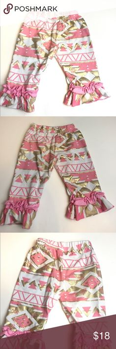 Baby Girl  pants Supper cute boutique pants in great condition tag says small but will fit 9-12 or bigger they have a elastic waistband Bottoms