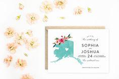 Alaska Wedding Invitations State Invitations by MooseberryPaperCo