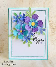 card flower flowers leaf leaves, MFT stitched flowers Die-namics for you Card Kit, Card Tags, Cute Cards, Diy Cards, Mothers Day Cards, Card Sketches, Paper Cards, Flower Cards, Creative Cards