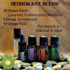 Make your own healthy Deodorant Blend ~ 20 drops each Lavender, Frankincense, Melaleuca, 5 drops Sandalwood, 10 drops FCO (I personally would dilute more!)