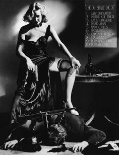 In 1934 (to avoid government regulation) the MPAA adopted the Hays Code, which prohitibed cleavage, lace underclothes, drugs, drinking, corpses, and getting away with a crime.  This photo, by A.L. Shafer, head of photography at Columbia, incorporated ALL the forbidden things... it was widely circulated among the disgruntled creative staffs of the studios.