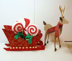 3D fabric and Felt Sleigh and Reindeer