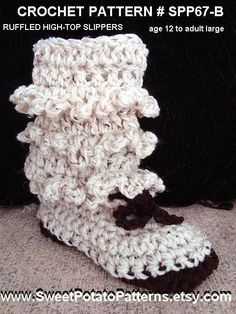 Boot Style Crochet Slippers , Age 12 to Adult large #3cc